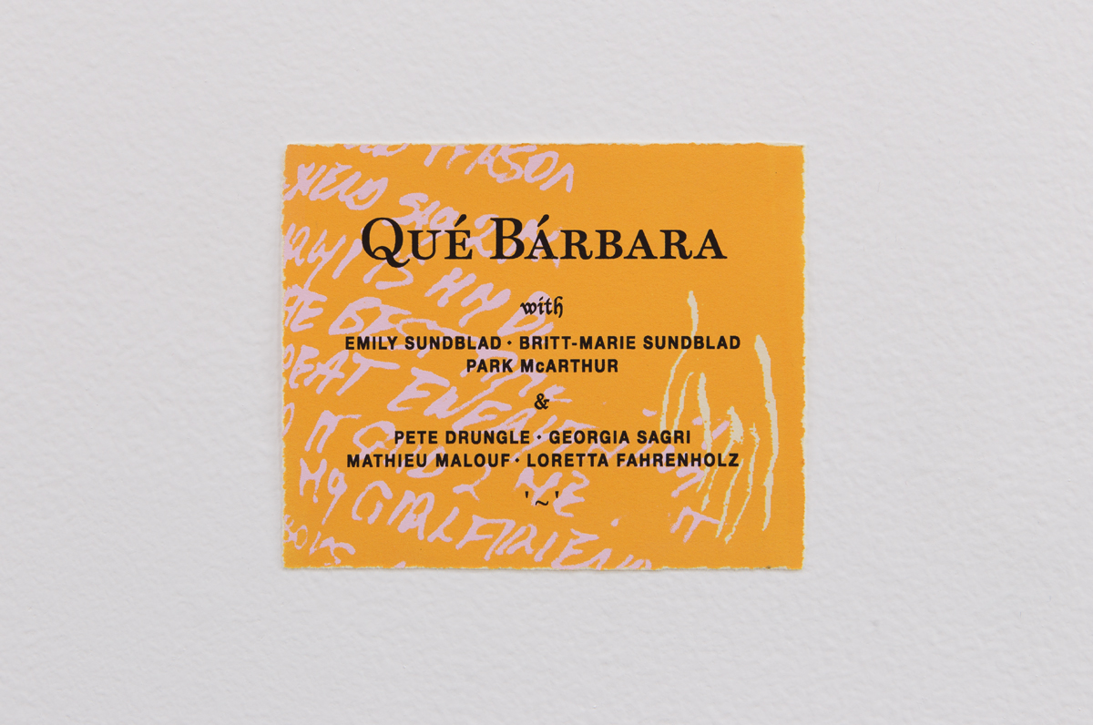 Qué Bárbara Film Poster, Designed by Bill Hayden, 2015. Silkscreen. 5 ½ x 6 ⅜ inches.