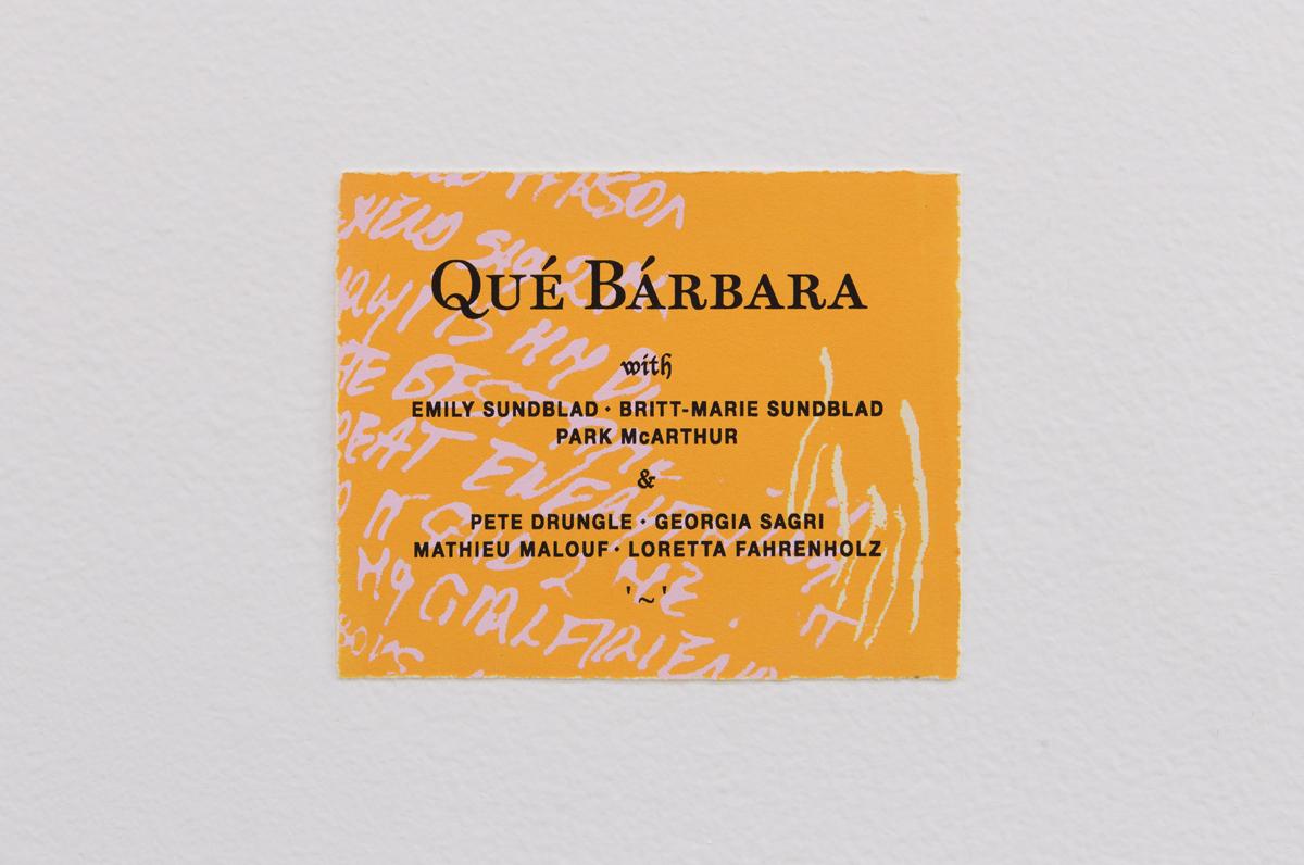 Qué Bárbara Film Poster, Designed by Bill Hayden, 2015. Silkscreen. 5 ½ x 6 ⅜ inches.