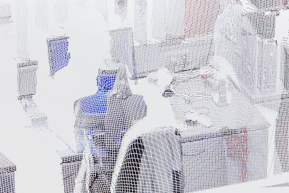 kbo-Isar-Amper-Klinikum, Labor (kbo Isar-Amper Clinic, Lab) detail, 2015. Digital print on clear film. 104 ½ x 192 ⅜ inches.