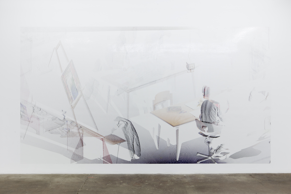 kbo-Isar-Amper-Klinikum, Kunsttherapie I (kbo Isar-Amper Clinic, Art Therapy I), 2015. Digital print on clear film. 104 ½ x 192 ⅜ inches.