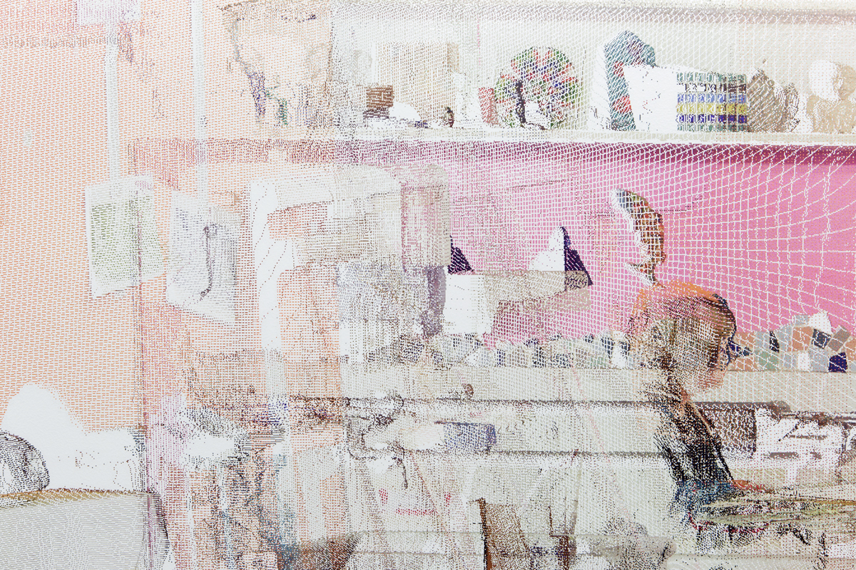 kbo-Isar-Amper-Klinikum, Kunsttherapie II (kbo Isar-Amper Clinic, Art Therapy II), detail, 2015. Digital print on clear film. 83 x 192 ⅜ inches.
