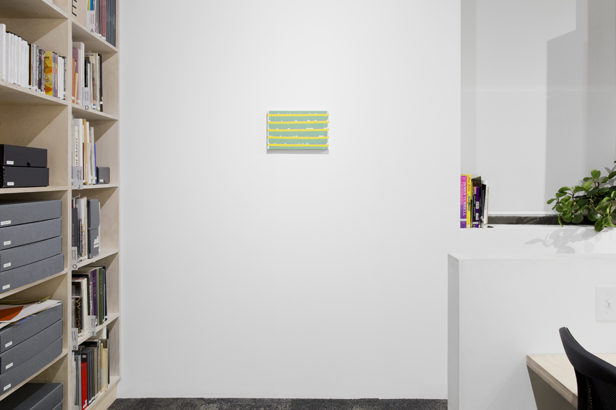 To and from home, installation view: stretch, 2015. Oil on canvas. 22 x 35.2 x 2.3 cm; 8 ¾ x 13 ⅞ x ⅞ inches.