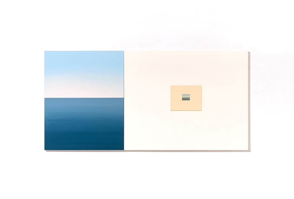 Diti Almog, With Sea and Sky, 2014 and May Afternoon on May Morning, 2014. Acrylic on Aircraft plywood. Courtesy of the artist.