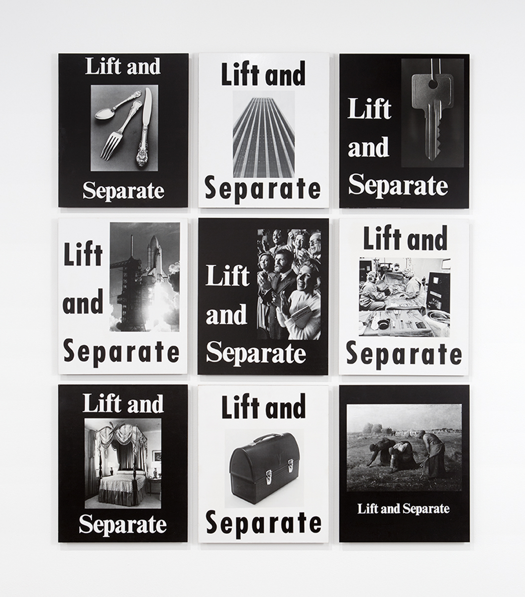 Lift and Separate, 1984. Black and white photographs mounted on board. 9 Panels, each: 23 ⅜ x 19 ½ x 1 inches. Exhibition Copy. Original work: Collection of The Museum of Contemporary Art, Los Angeles, Gift of Clayton M. Press, Jr. and Gregory B. Linn.