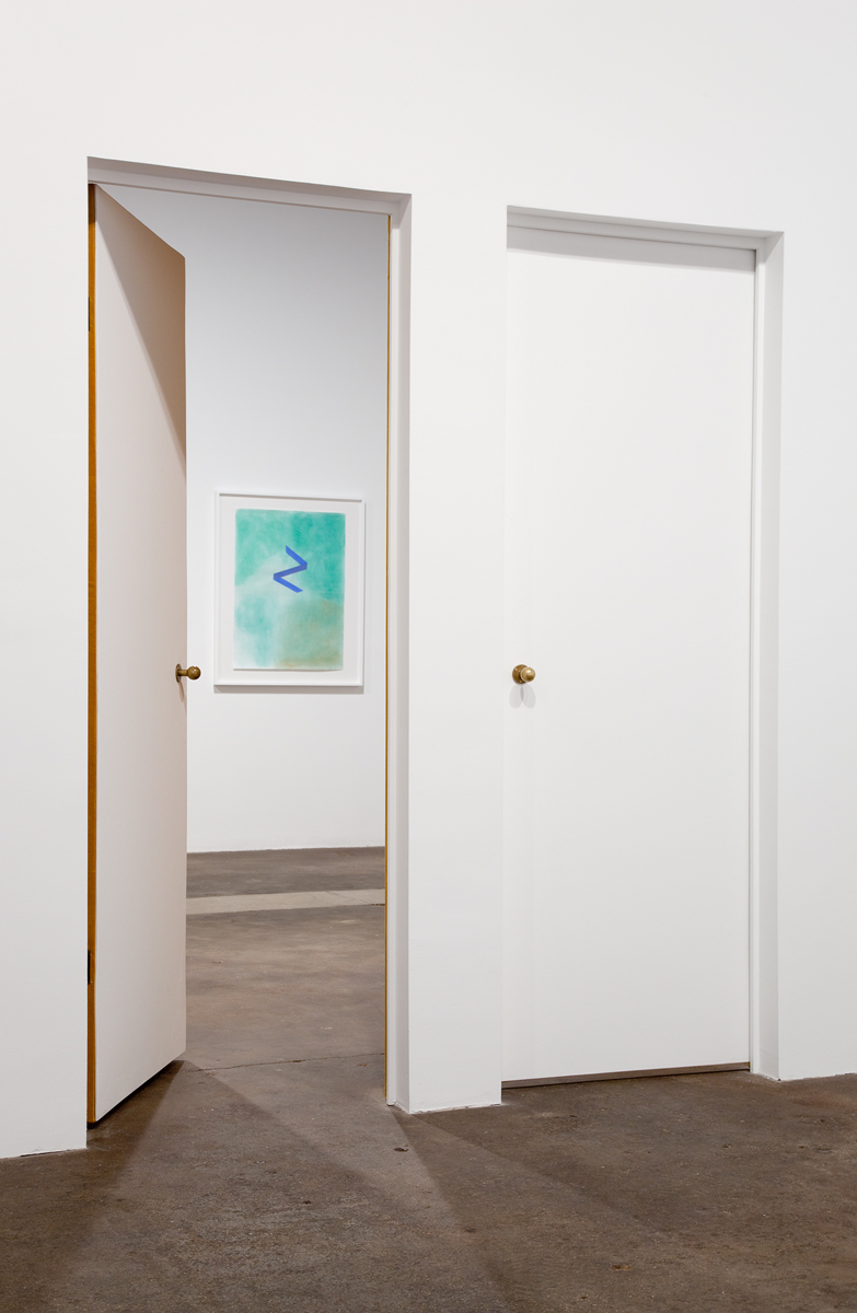 Perforations, installation view. Foreground: Concern, crush, desire (detail), 2011. Cotton appliqué on velvet, brass doorknobs and door stoppers. 131 x 94 x 115 inches. Background: The memory of a world without memory, 2011. Pastel on paper collage. 42 ¾ x 34 ¾ inches, framed.