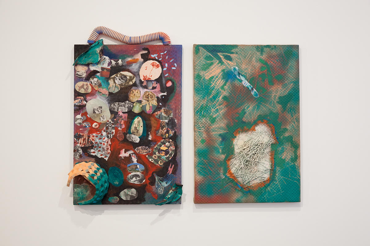 Shoot the Trash, 2012. Acrylic, fabric, enamel spray paint, copper, plastic, pasta, wood, photographs. 50 x 32 x 7 inches (left) and 45 x 30 inches (right).