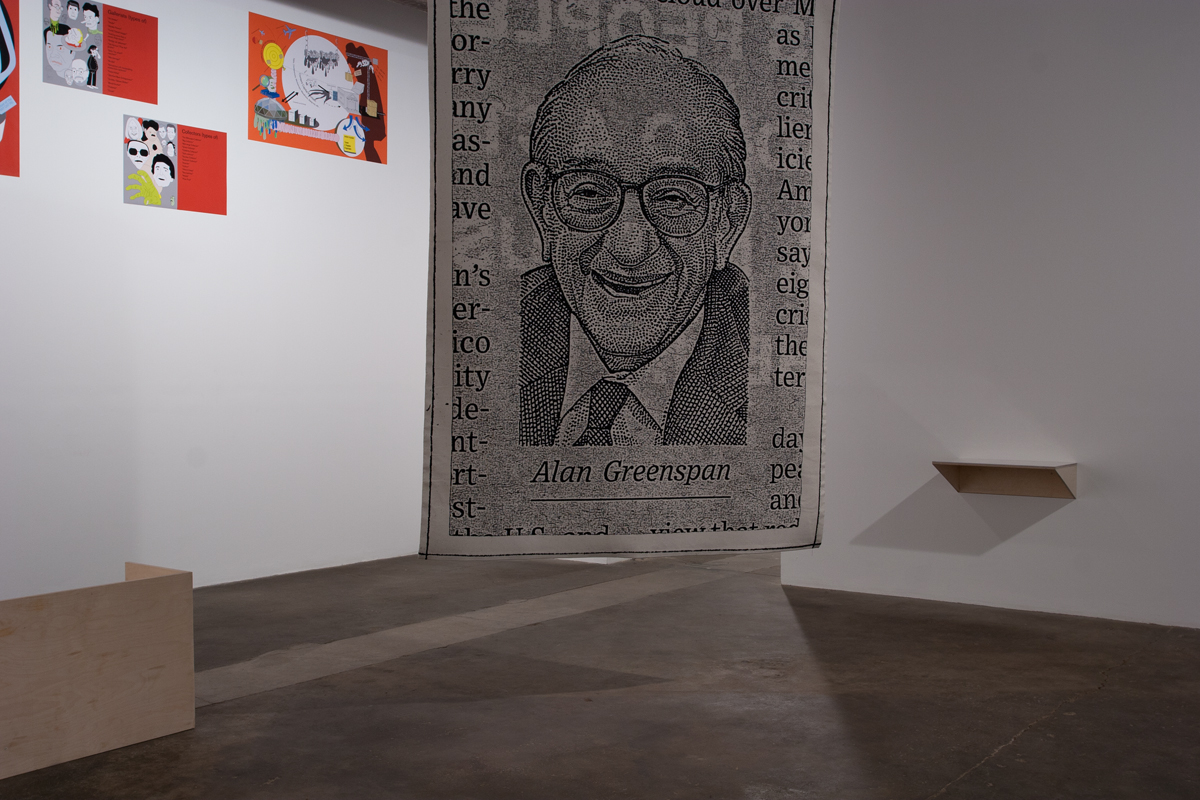 Willem Oorebeek, The Last Emperor Of The Wall Street Journal, 2006. Wool, cotton, and other thread.