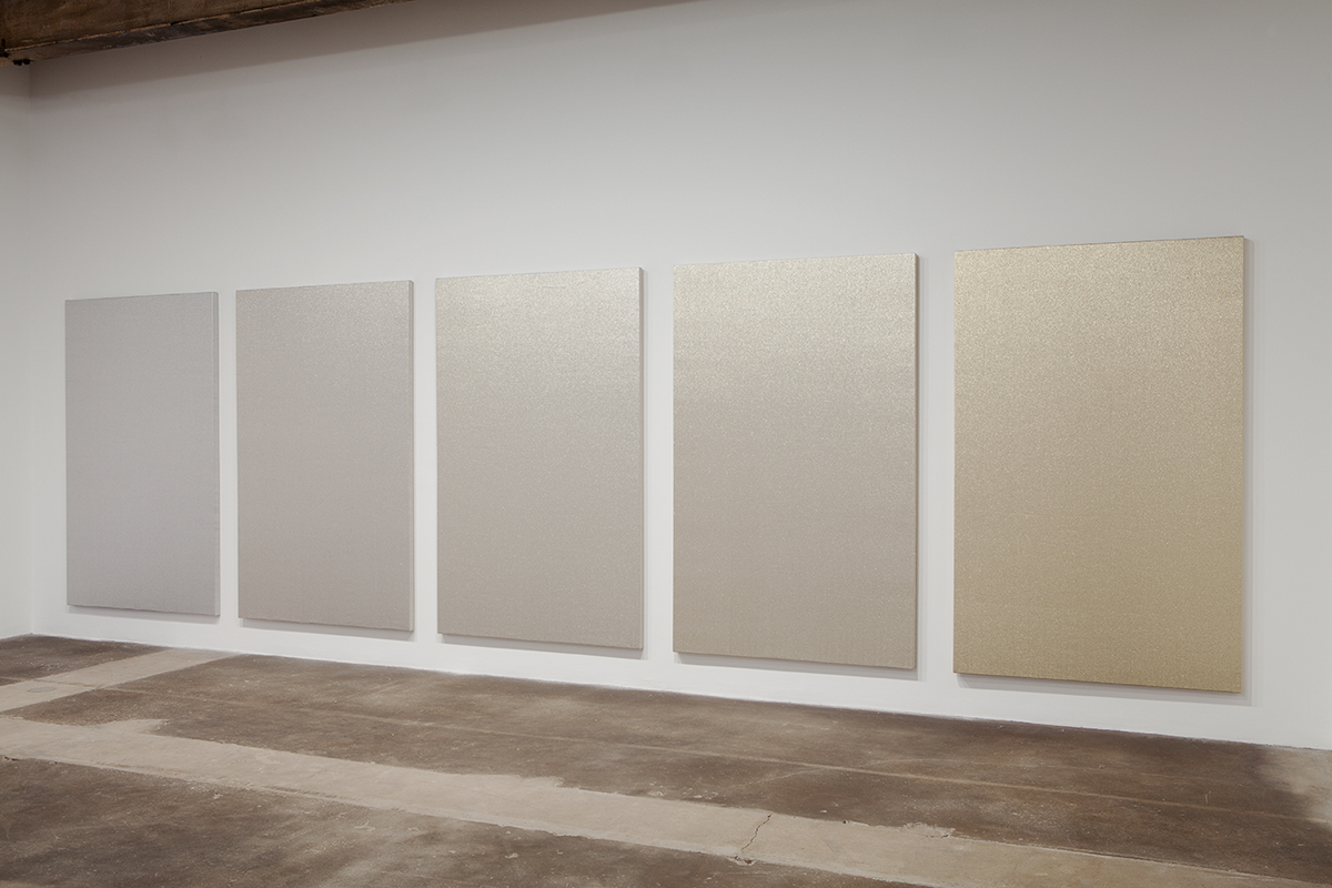 Willem de Rooij, Silver to Gold, 2009. Unbleached linen and acrylic fiber. Five panels, each 84 ⅝ x 53 ⅛ x 2 inches. Courtesy the Aishti Foundation, Beirut.