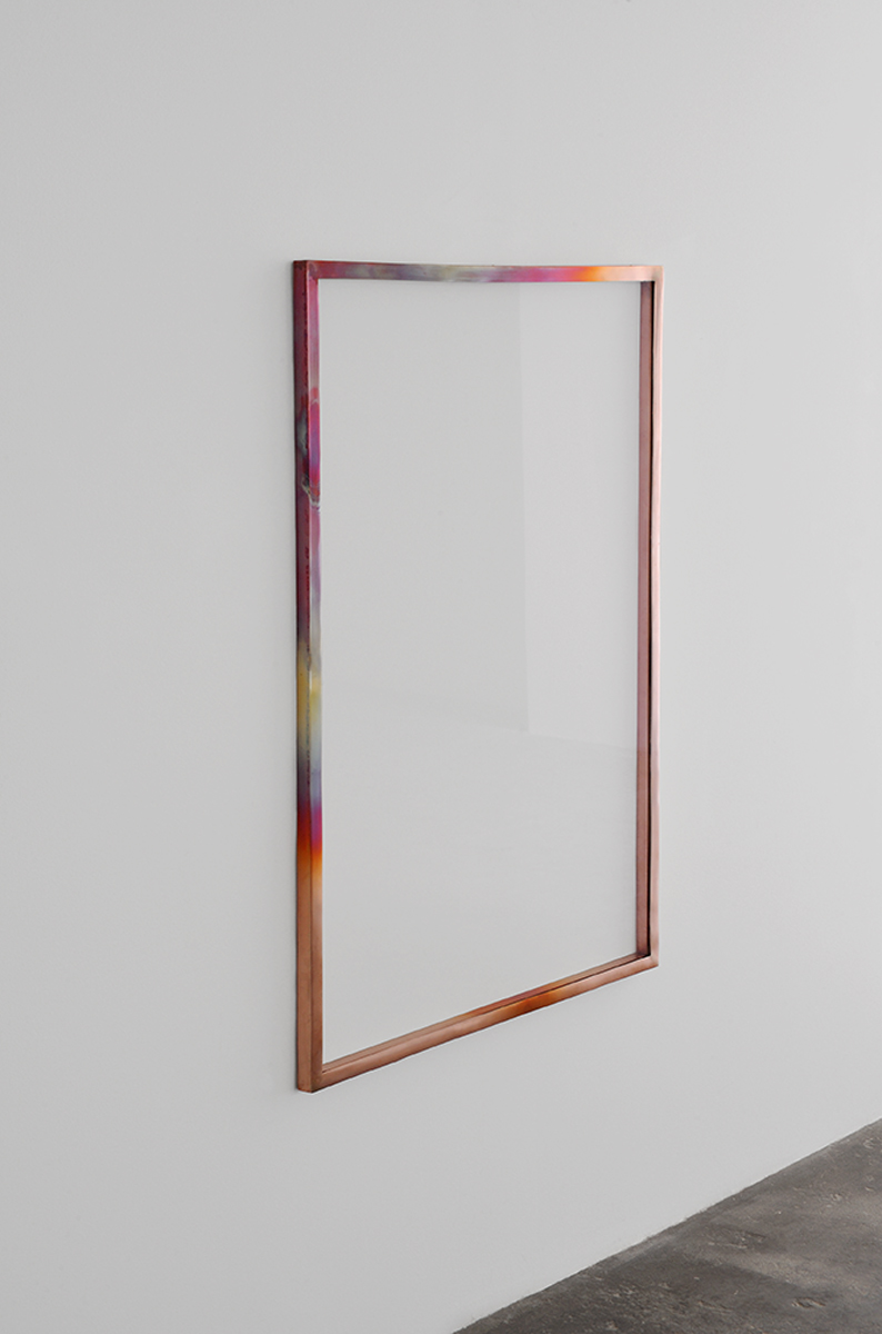 Slight Heat of the Eyelid, 2013. Heated copper frame, glass.