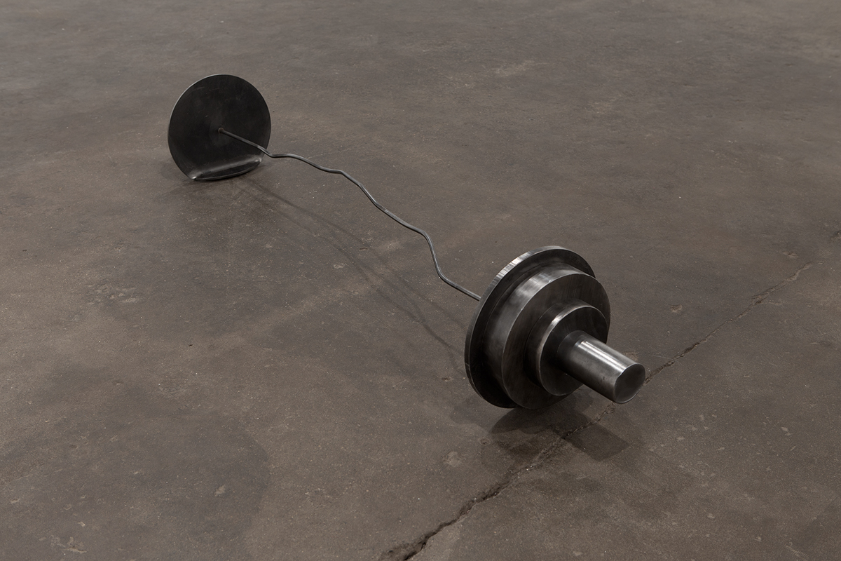 Untitled (Barbell), 2013. Steel. 12 x 70 x 12 inches.
