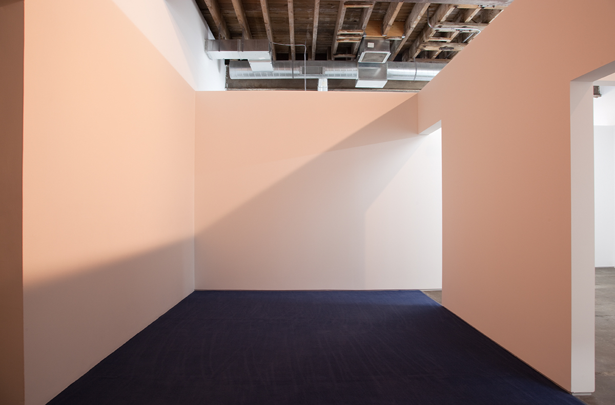 44.989569 x -93.252357, 2012. Wood, sheetrock, metal reglets, latex paint, carpet, daylight fluorescent tubes, and halogen spots. 120 x 330 x 376 inches.