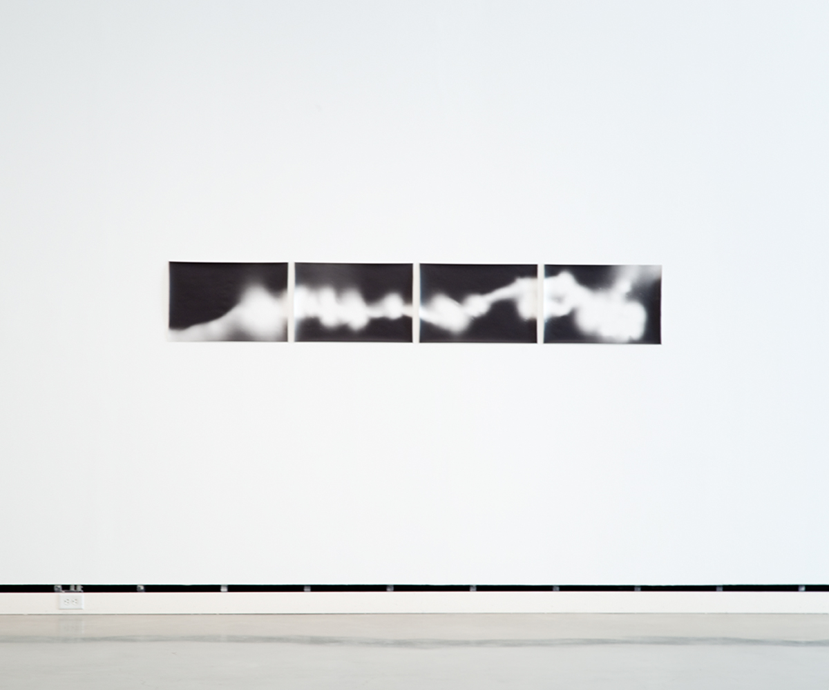 Leuchtkaefer (Bewegung auf 35 mm film) / Glow-worm (Movement on 35 mm film), 2010. 4 b&w photographs, silver gelatin prints. 15 ½ x 23 inches each, 15 ½ x 95 inches overall.