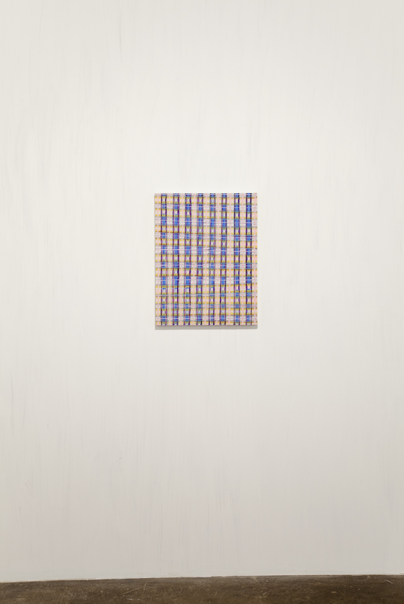 Josh Rickards, Pink Plaid, 2009. Flashe on canvas. 17 x 22 inches.