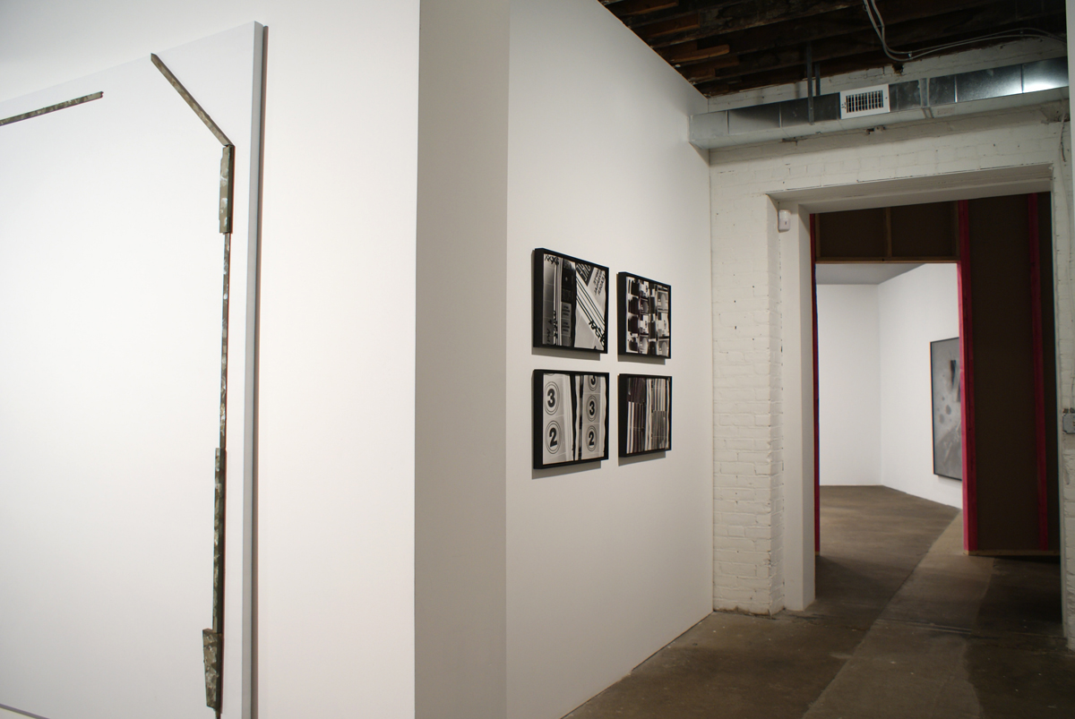 Catawampus (for H.D.), installation view. Left to right: Richard Aldrich, Untitled, 2008; Amy Granat and Matt Keegan, Seasons (Still Stills) #2, #3, #5, #1, all works 2008. Shannon Ebner, The Crooked Sign, 2006.