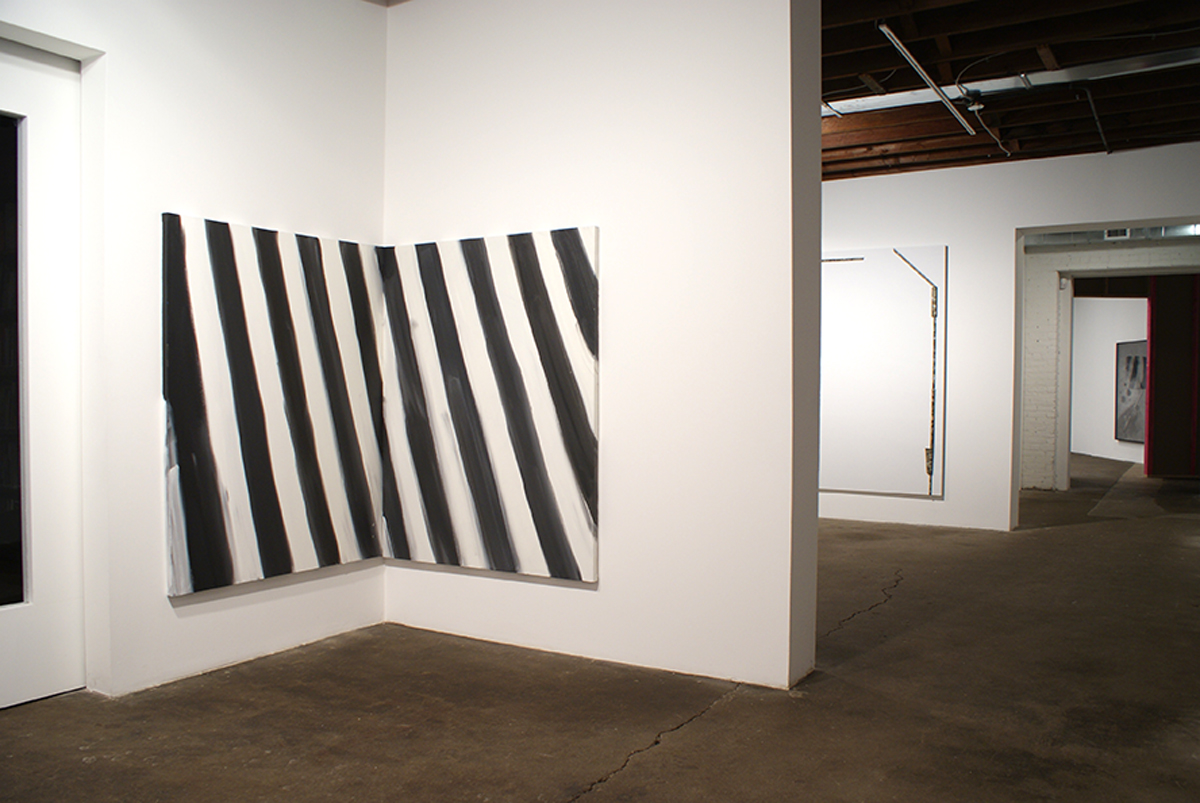 Catawampus (for H.D.), installation view. Left to right: Ann Craven, Untitled Stripe painting (October 1, 2008) #1, Untitled Stripe painting (October 1, 2008) #2, both 2008; Richard Aldrich, Untitled, 2008; Shannon Ebner, The Crooked Sign, 2006.