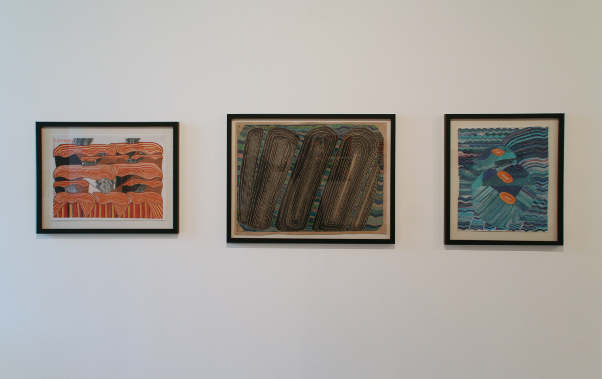 David Bauman, left to right: Black and Brown Volcanoes; Diamondhead, Hawaii Aloha; Untitled. All works marker on paper.
