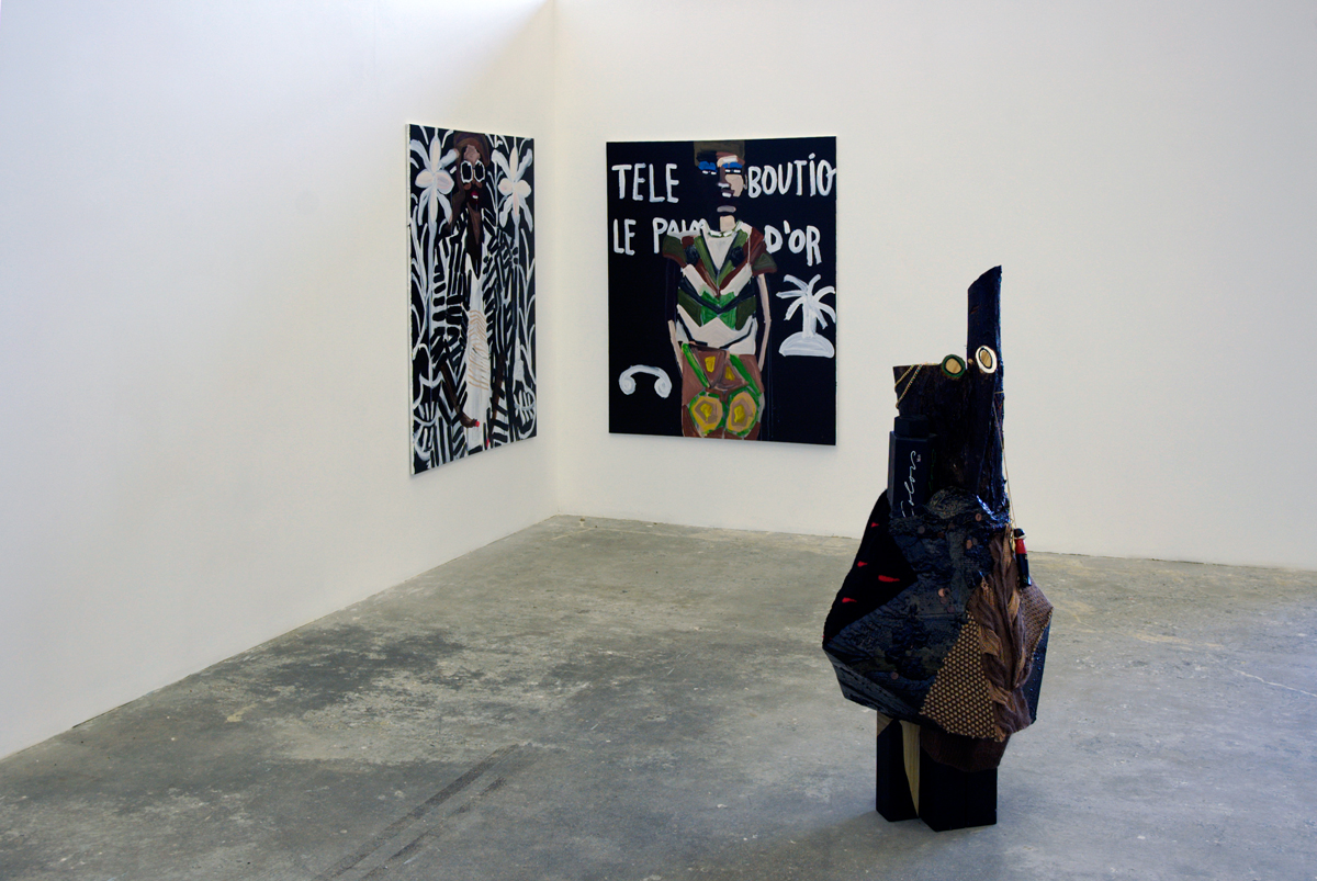Diamond Hand Grenade, installation view. Background: Katherine Bernhardt. Foreground: Anna Sew Hoy.