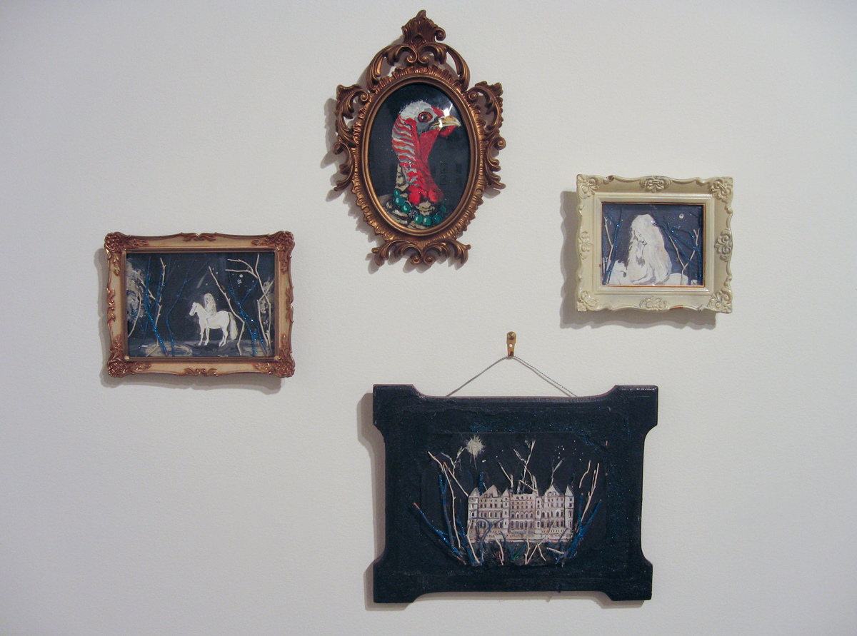 Hadley Rosenberg, clockwise from left: Untitled (woman on horse):Turkey; Untitled; Untitled. Mixed media collages and acrylic on board.