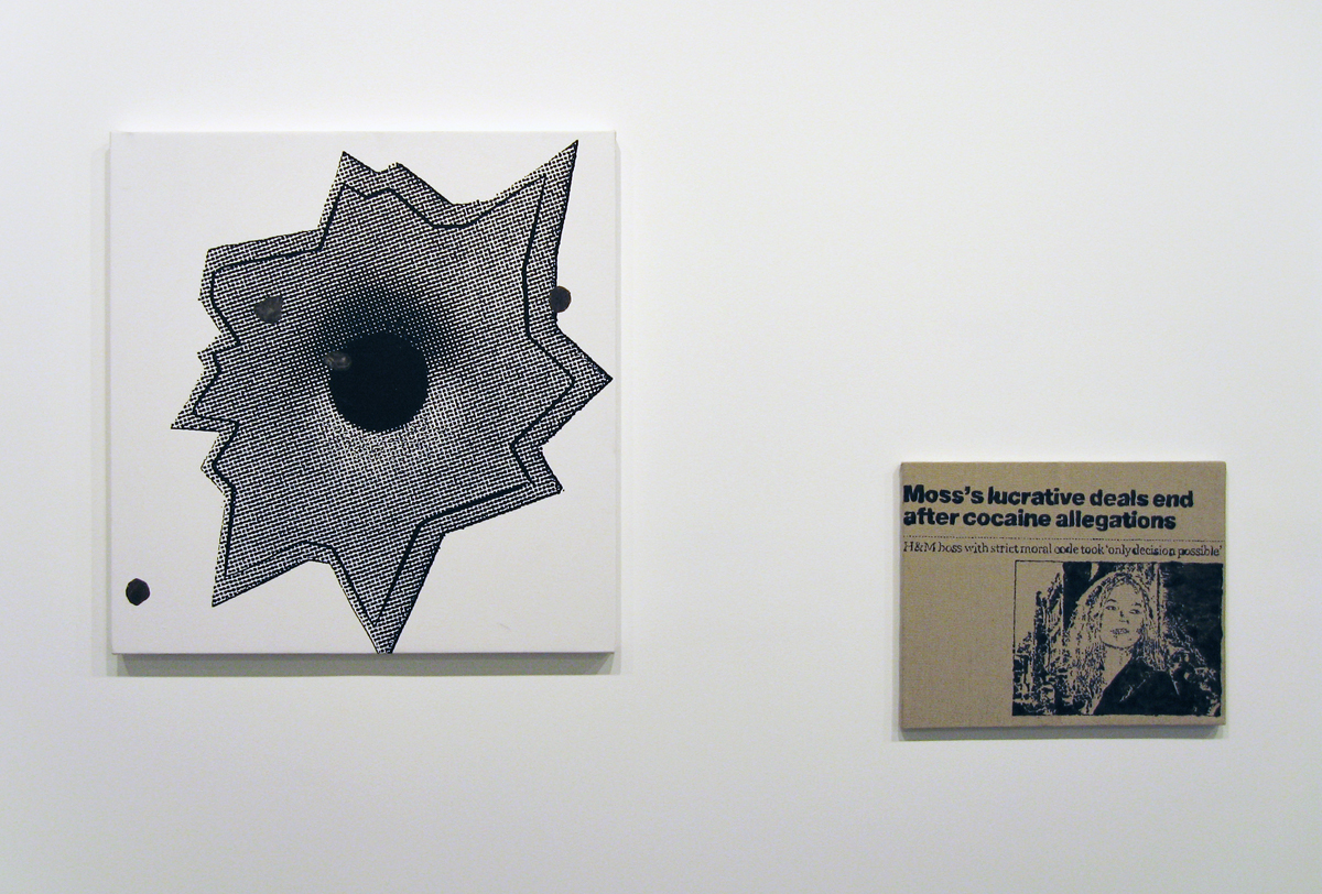 Axis of Praxis, installation view. Left: Adam McEwen and Nate Lowman, Altima Bomber Harris, 2006. Gum and silkscreen ink on canvas. 31 inches x 30 inches. Right: Nate Lowman, Comeback Kate?, 2006. Alkyd on linen. 16 inches 20 inches.