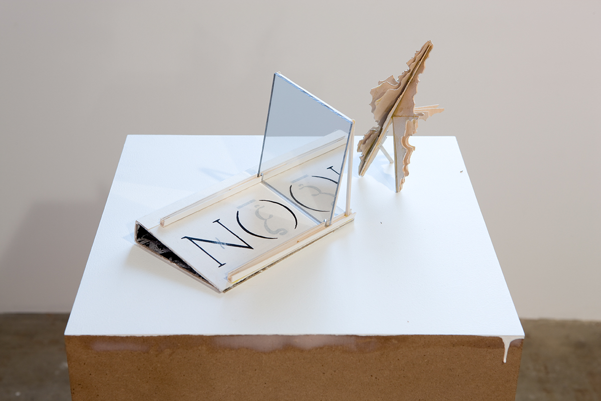 Untitled, 2007. Balsa wood, ink, mirror.