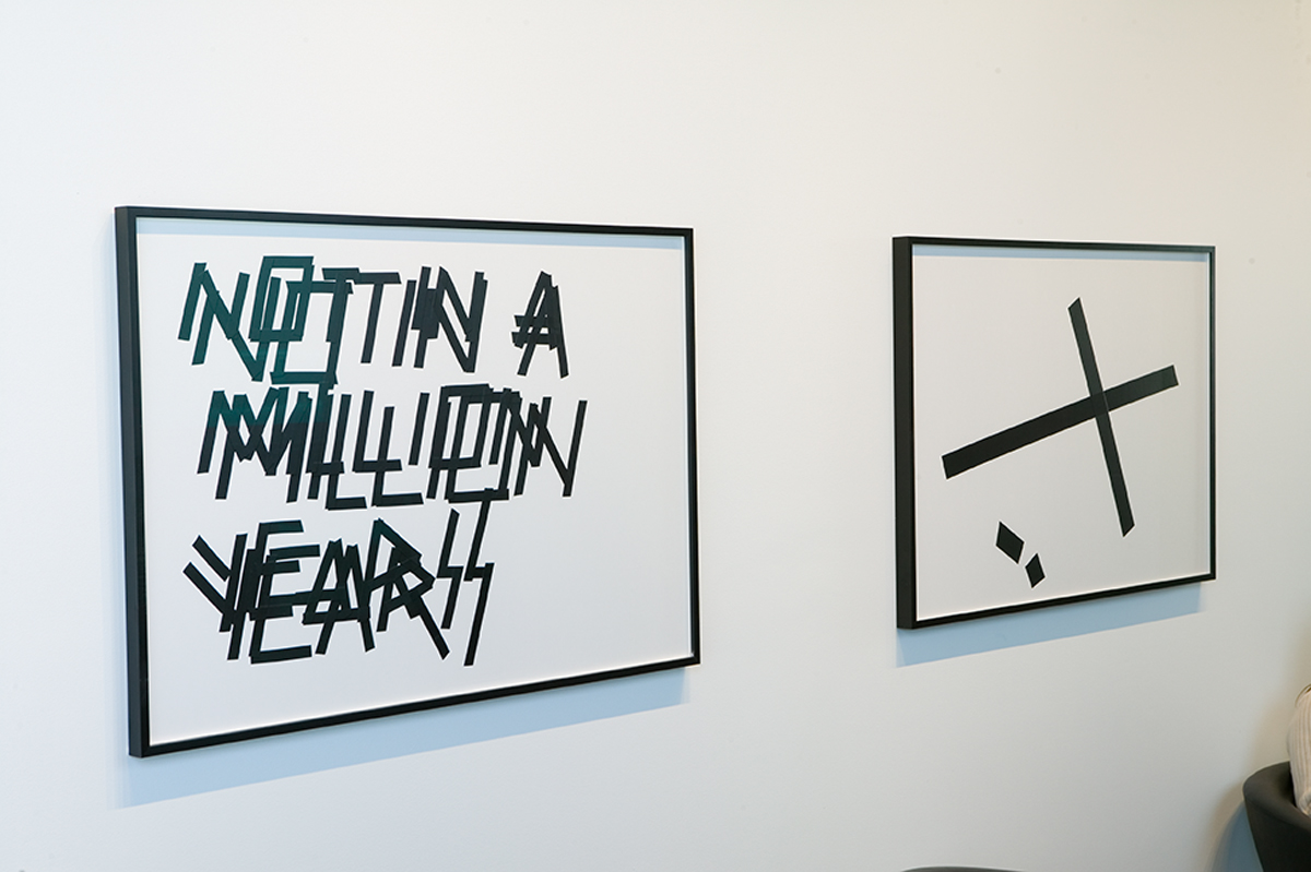 "I Don't Think So, installation view. Left: Untitled (NOT IN A MILLION YEARS), 2007. Isolation tape on paper. 33 ¼ inches x 44 inches. Right: Tape Composition #6, 2007. Isolation tape on paper. 33 ¼"" x 44""."