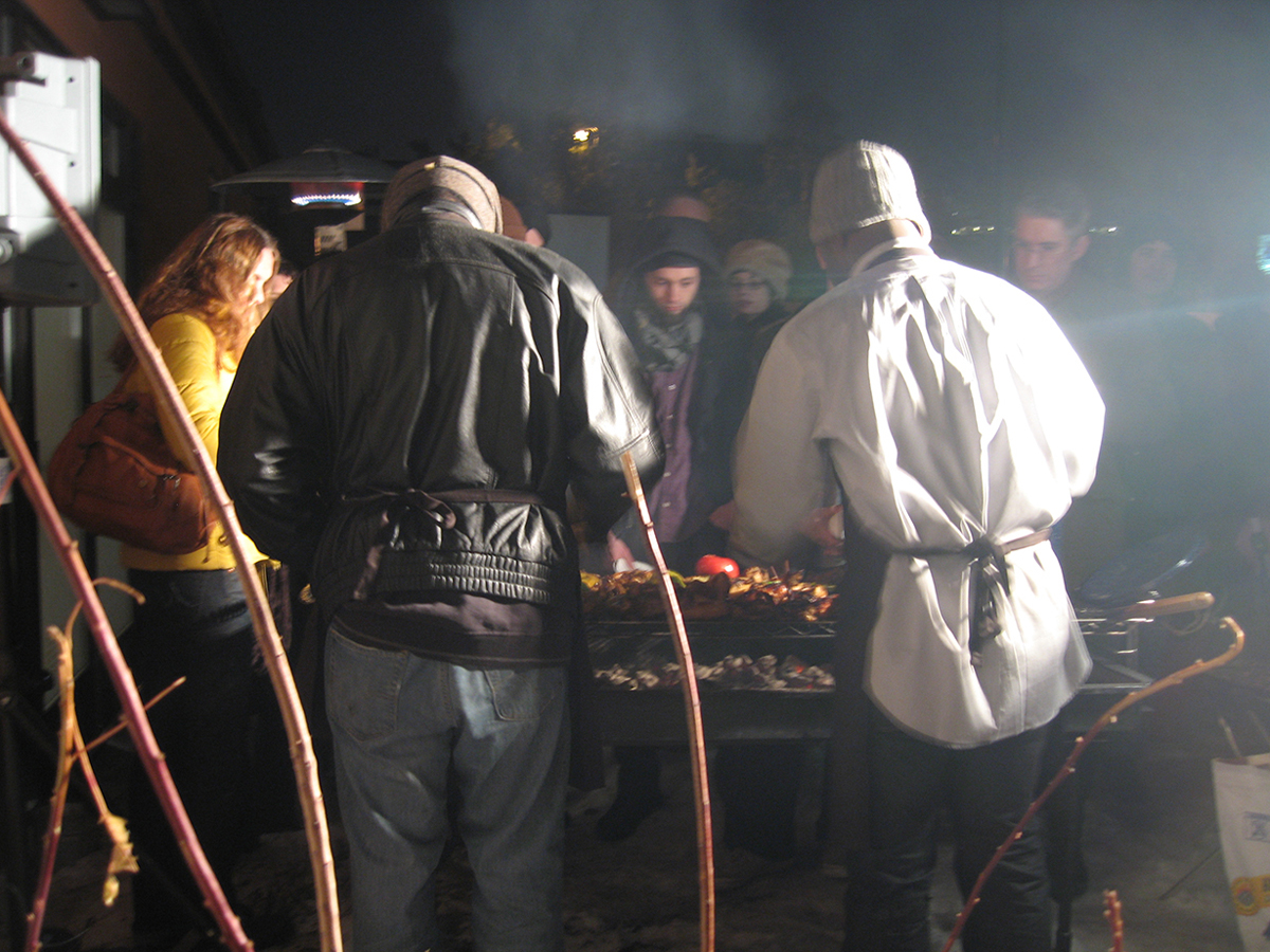 Chicken Party Flight Jacket - Potlatch III, 2008. Opening reception event.