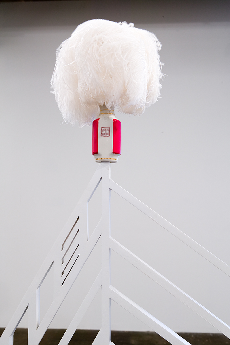 """Christmas Tea = Meeting, presenting by Dialogue and Humanism, formerly Dialectics and Humanism"", detail, 2007. Walnut, poplar, Baltic birch plywood, paint, paper, board, steel, feathers and found soviet vase (circa 1980's). Dimensions variable."