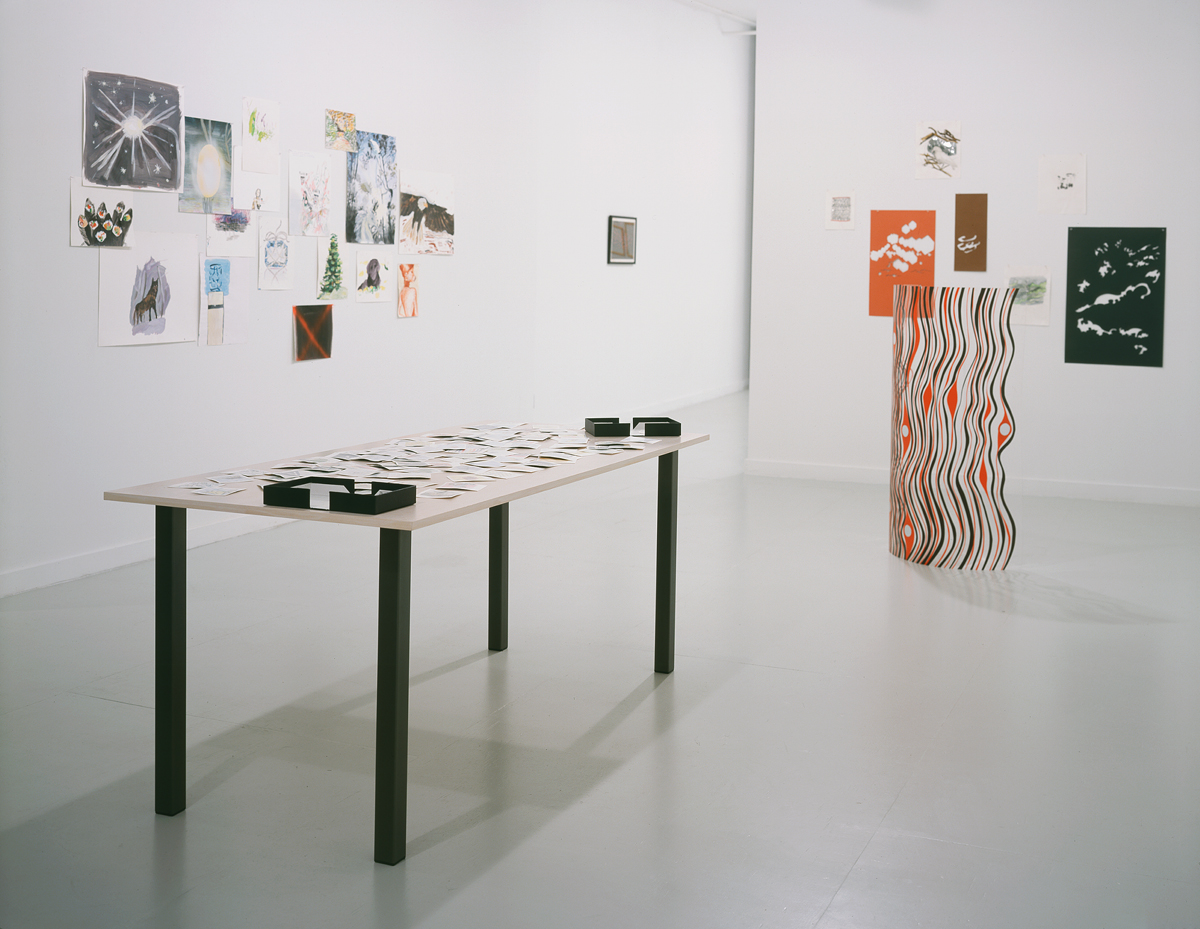 Drawn from LA (home is where the heart is), installation view. Foreground: Dave Mueller, courtesy of Blum and Poe. Left to right: Mari Eastman, courtesy of LOW; Mungo Thomson, courtesy of Margo Leavin; Alice Konitz.