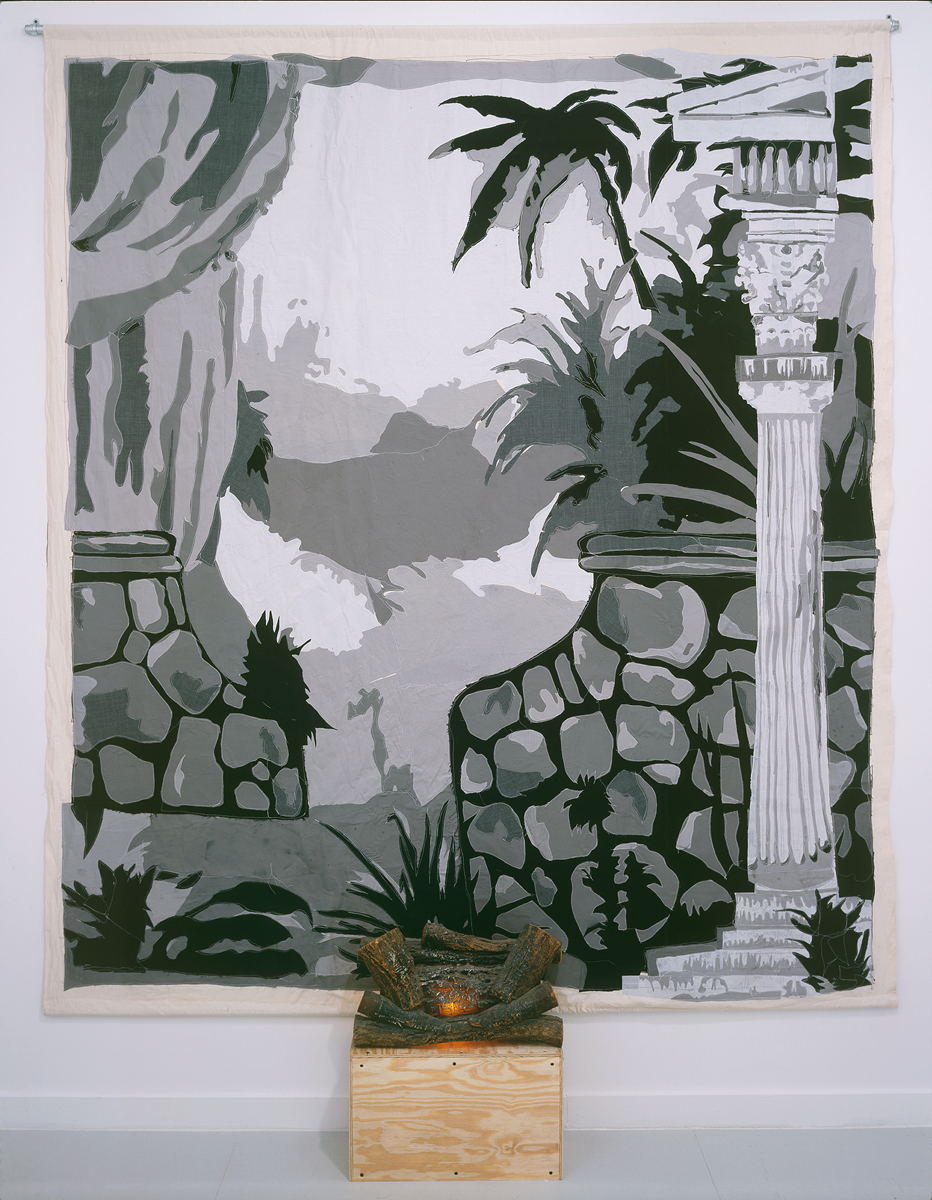 Carter, Untitled (backdrop), 2001-2002. Fabric on canvas with accompanying video and camera.