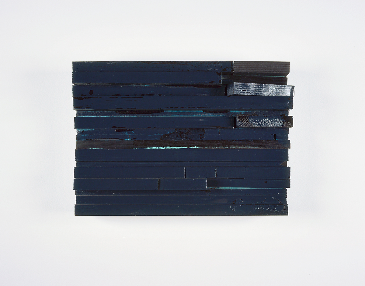 glossy moll 2, 2005. Resin lacquer, wood. 9 ½ x 13 ½ x 3 ½ inches.