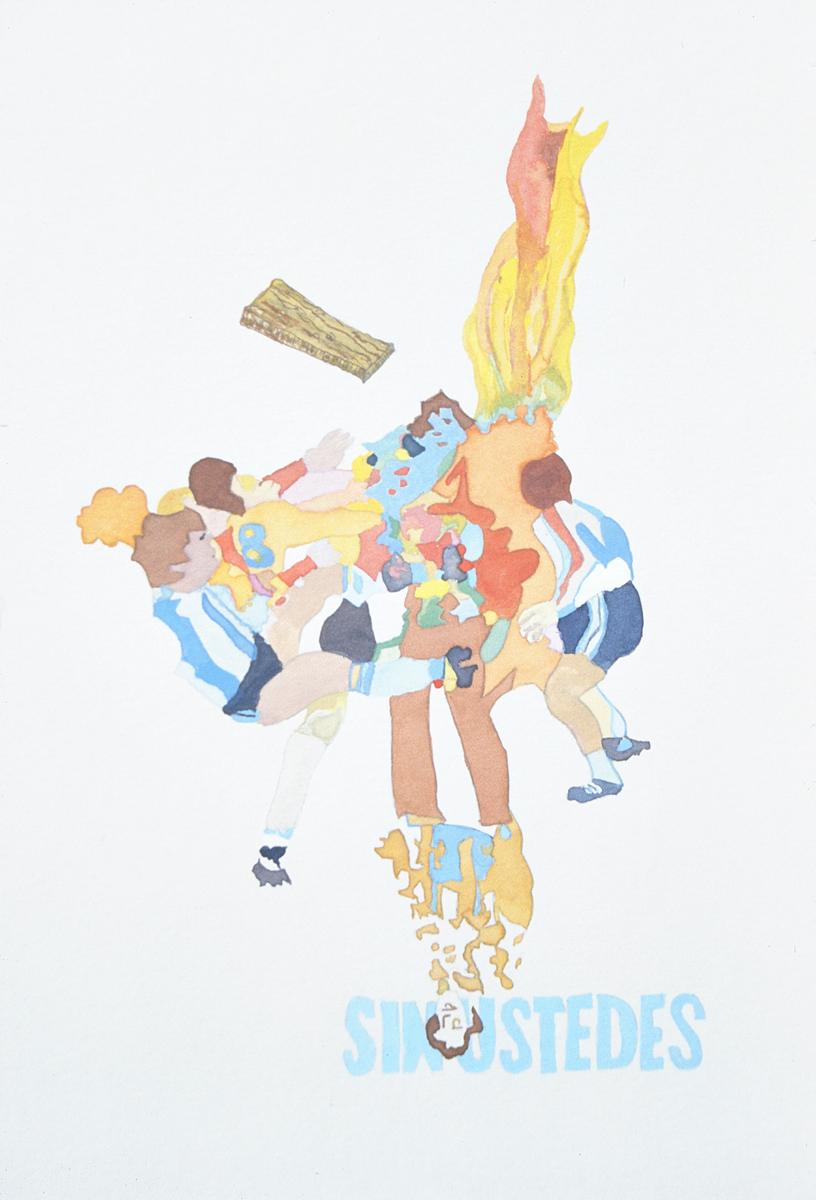 "Santiago Cucullu, "" The Hairyman appears before the onslaught of trouble. Three shady witches live in his beard and can predict the future."", 2001. Watercolor on paper. 19 ¼ x 12 ½ inches."