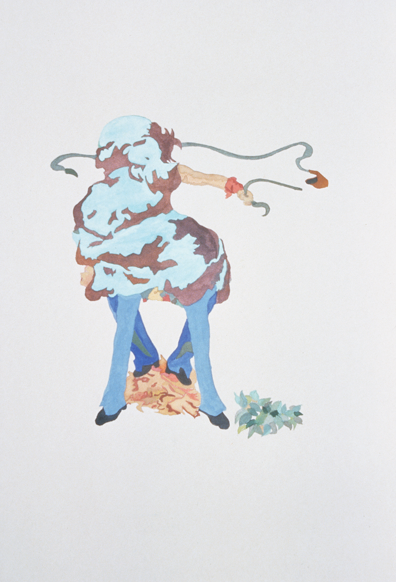 "Santiago Cucullu, ""The coprolite can become animated by a host. Here it positions the arm of Daniel to fire from a sling while walking with Menotti's legs. It is fall."", 2001. Watercolor on paper. 19 ¼ x 12 ½ inches."