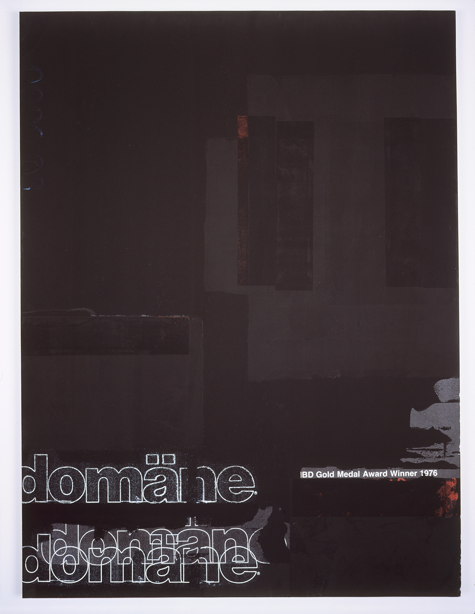 Domäne Black, 2004. Digital ink jet and silkscreen enamel on canvas. 36 x 48 inches.