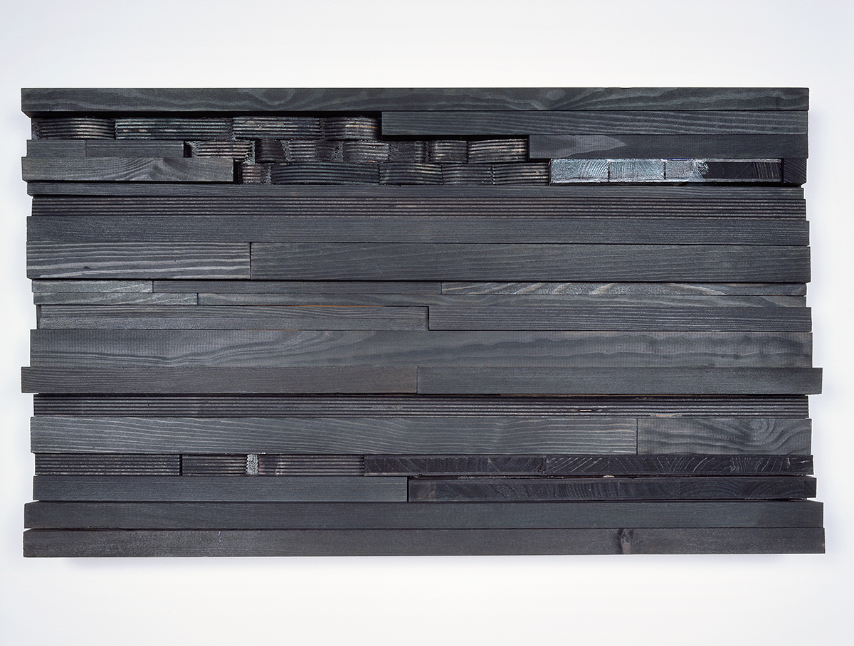 moll 1, 2005. Stain, acrylic paint, wood. 14 ¼ x 23 ¾ x 3 inches.