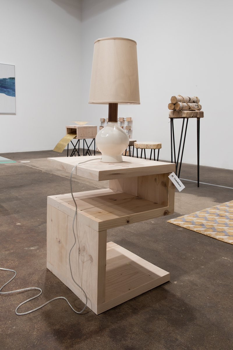 Snake Table with a Flickering Lamp, 2016. Wood, lamp, relay, arduino and tag. 17 ½ x 15 ½ x 42 ½ inches.