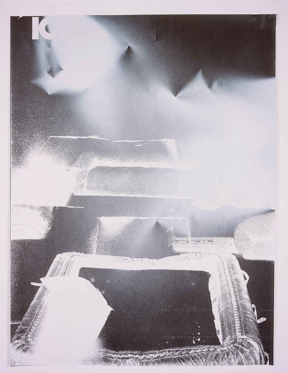 ICF, number 3, 2004. Enamel spray paint on photocopy. 23 x 30.5 inches.