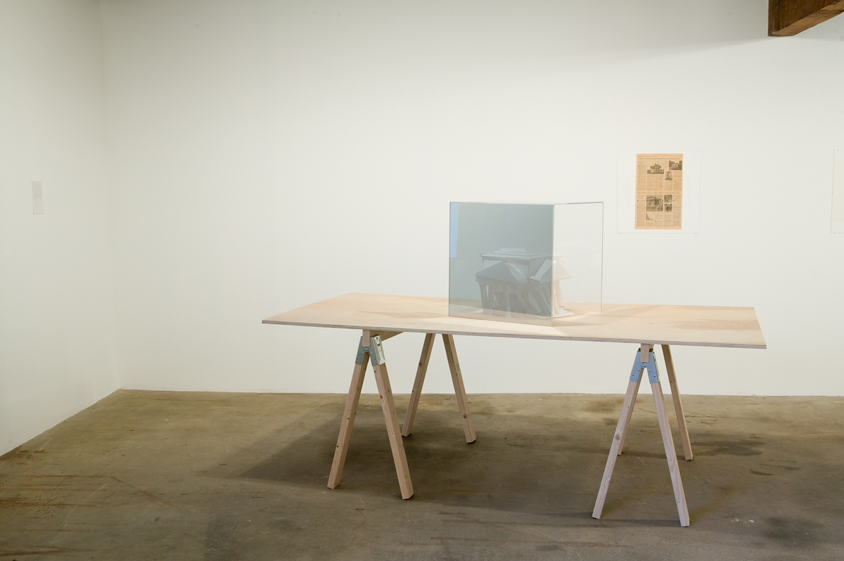Gareth James, Get Real Estate, 2003. Paper sculptures, drawings, plywood tables. Dimensions variable. Courtesy of the artist and American Fine Arts, New York.