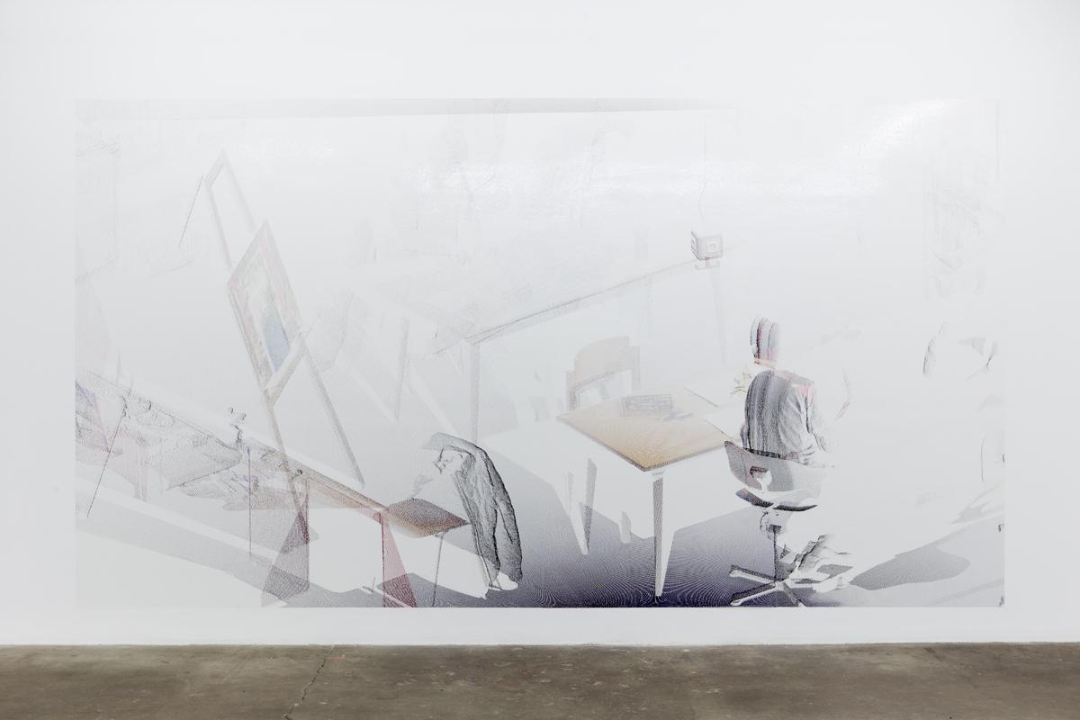 kbo-Isar-Amper-Klinikum, Kunsttherapie I (kbo Isar-Amper Clinic, Art Therapy I), 2015. Digital print on clear film. 104 ½ x 192 ⅜ inches.