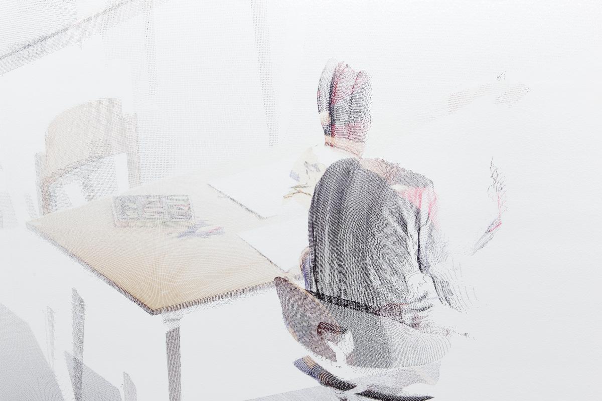 kbo-Isar-Amper-Klinikum, Kunsttherapie I (kbo Isar-Amper Clinic, Art Therapy I), detail, 2015. Digital print on clear film. 104 ½ x 192 ⅜ inches.
