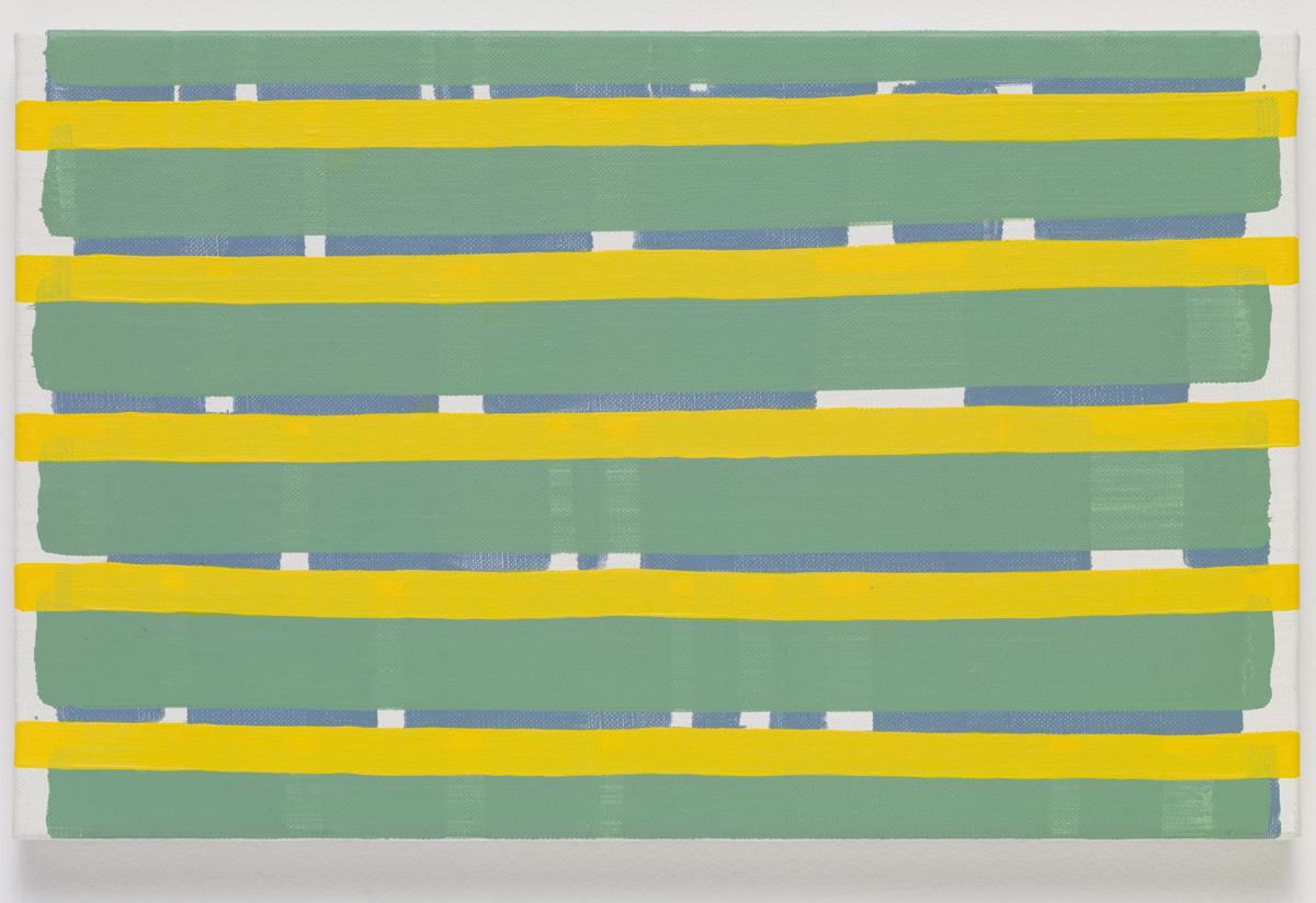 stretch, 2015. Oil on canvas. 22 x 35.2 x 2.3 cm; 8 ¾ x 13 ⅞ x ⅞ inches.