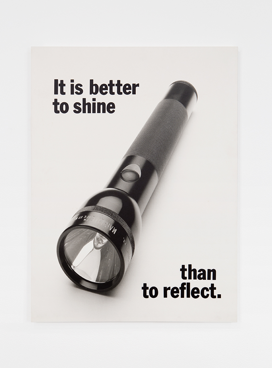 It is better to shine than to reflect, 1984. Silver gelatin photograph on board. 40 x 30 inches. Collection of Andrew Schwartz, Los Angeles.
