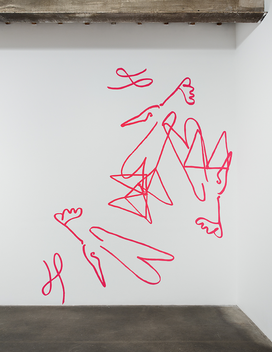 Untitled (Cartoon of Rich and Poor Peacocks), 2014. Flashe on wall. 141 x 114 inches.