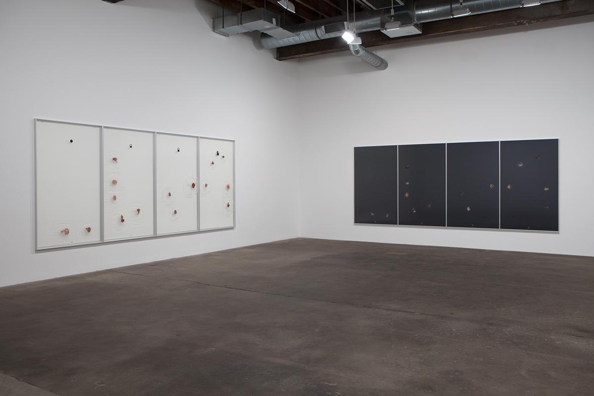 Lettre dall'interno del, installation view. Left: Rain over Water, 2014. Right: Rain over Water, 2014.