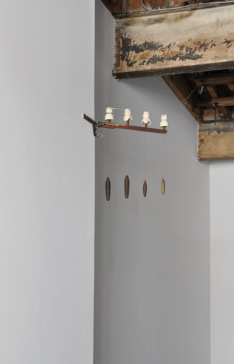 Mississippi River Blues, 2013. Pylon, copper thread, metal cones.