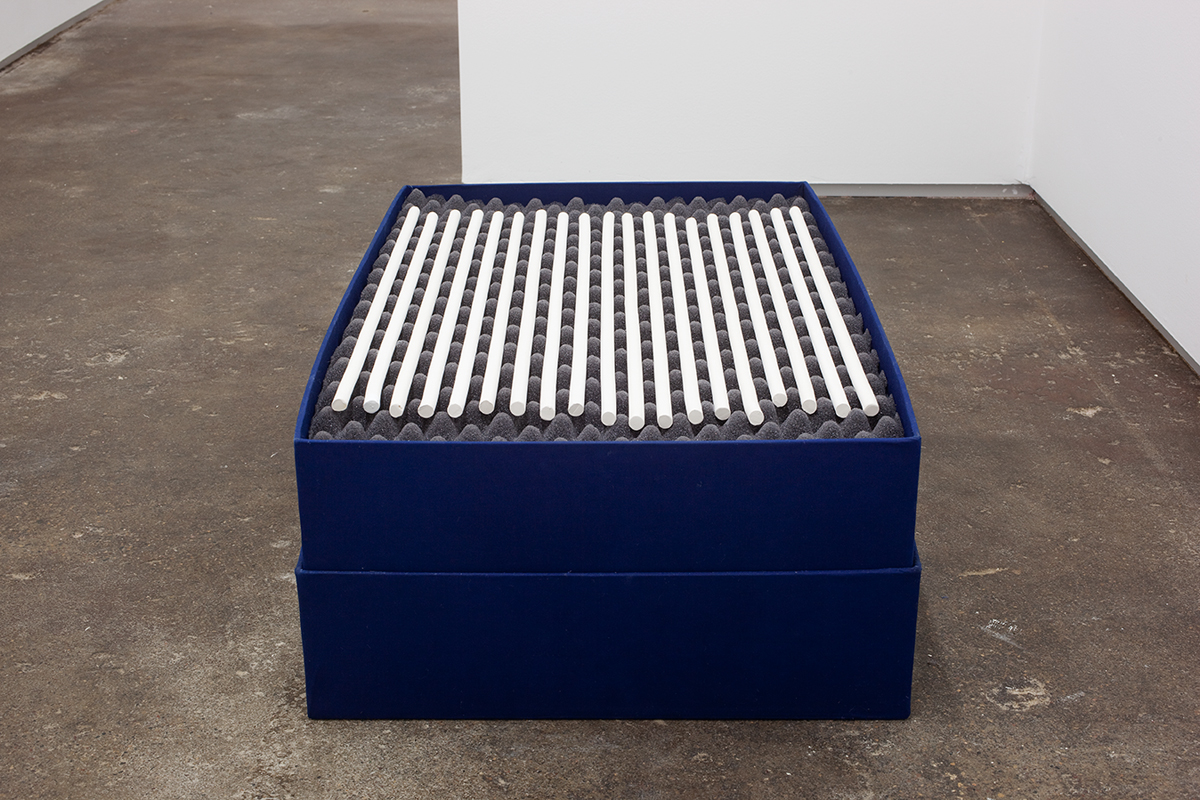 [ IIIIIIIIIIIIIIIIIII ], 2012. 19 hand-rolled unglazed porcelain objects, buckram covered boxes, foam, latex paint. 30 x 18 x 9 ½ inches.