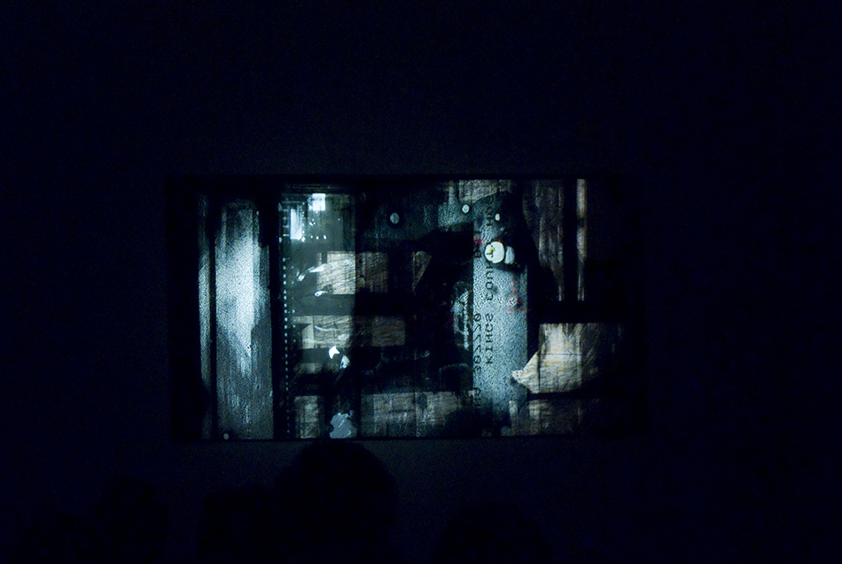 Raha Raissnia, Lapsus, 2010. Performance with 35mm slides, 16mm film, paintings. Tapes by Charles Curtis.