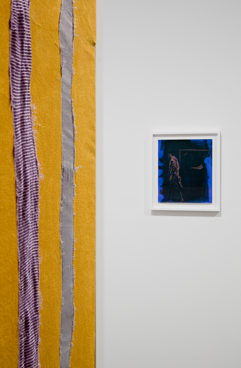 Perforations, installation view. Foreground: Concern, crush, desire (detail), 2011. Cotton appliqué on velvet, brass doorknobs and door stoppers. 131 x 94 x 115 inches. Background: Untitled, 2011. Gouache and colored pencil on paper. 16 ½ x 14 inches, framed.