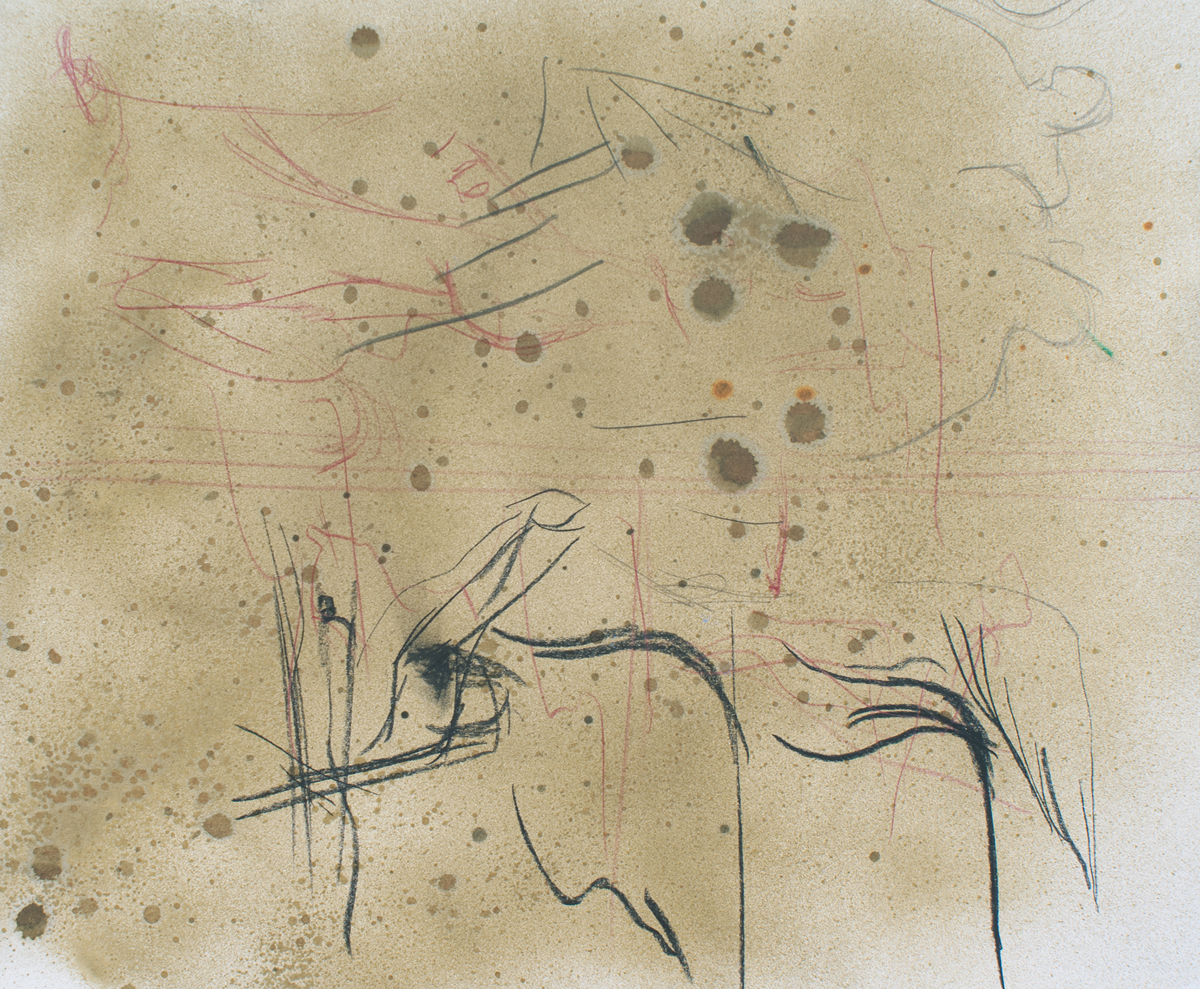 Begun by giving in, 2011. Ink, graphite, and charcoal on paper. 14 x 16 ½ inches, framed.