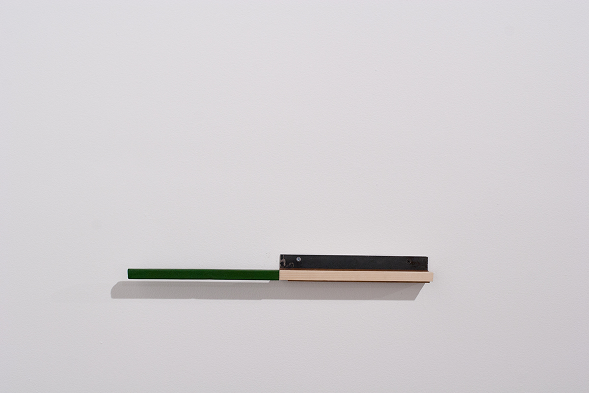 Oscar Tuazon, Untitled (Green), 2004. Wood, goatskin, metal, screws.