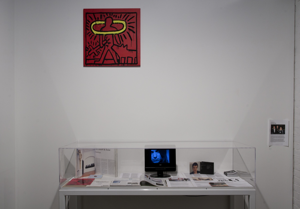 The Way It Wasn't (Celebrating ten years of castillo/corrales, Paris), installation view. Sturtevant, Haring (Untitled 82), 1986. Acrylic on canvas. CS Leigh, Vitrine with selection of documentation, publications, press clips, and correspondence and previously unseen footage from CS Leigh's Nobody Fucks Nico (2008-?).
